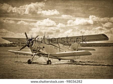Old aircraft, biplane - stock photo