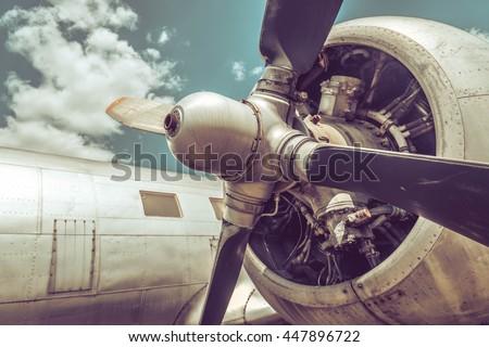 Old aircraft close up - stock photo