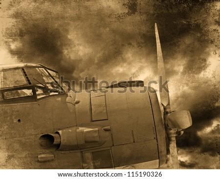 Old aircraft engine, vintage plane close up - stock photo