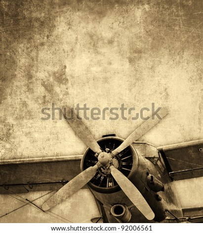 Old aircraft, vintage background 					 - stock photo