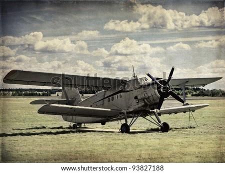Old aircraft vintage background, retro aviation - stock photo