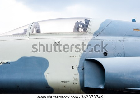 Old airplane cockpit,close up detail.