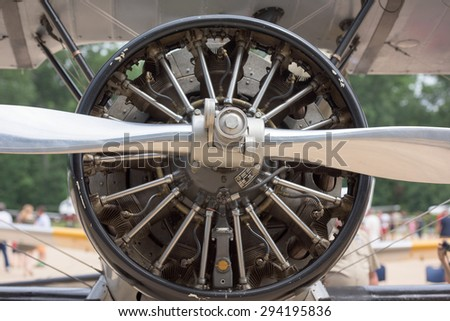 old airplane iron propeller engine detail - stock photo