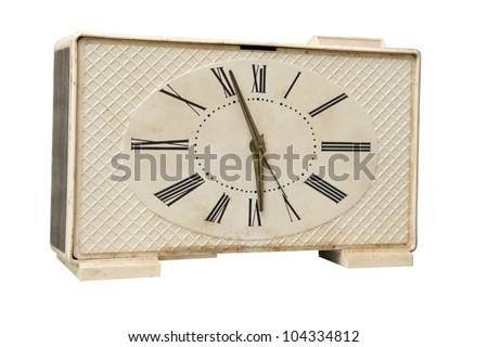 Old alarm clock isolated over white background - stock photo