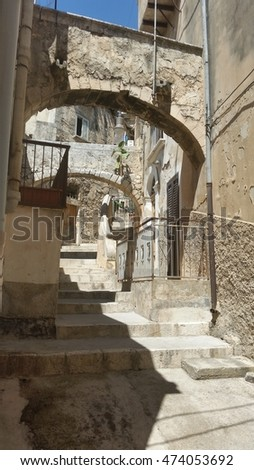 old alley in Modica, Sicily, Italy