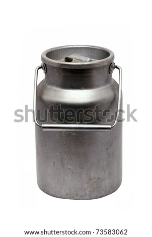 Old aluminium can for milk - stock photo