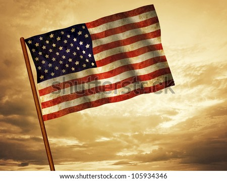 Old American Flag waving over sunset, USA flag for USA Independence Day, USA The Stars and Stripes flag, USA Old Glory flag, USA Star Spangled Banner flag - stock photo