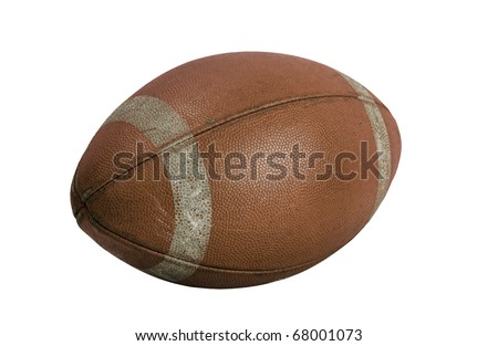 Old american football on a white background - stock photo