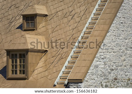 old american house dormer skylight - stock photo