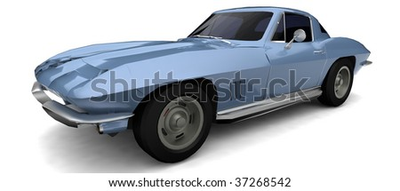 Old american Muscle car 	 - stock photo
