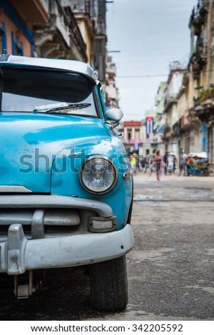 Old american park car on street in Havana,Cuba - stock photo