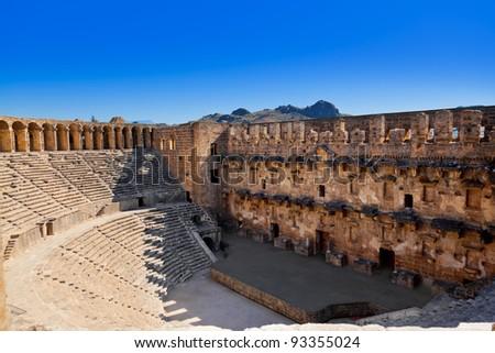 Old amphitheater Aspendos in Antalya, Turkey - archaeology background - stock photo