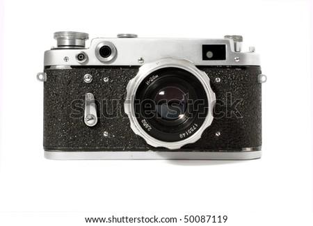 Old analog photo camera - stock photo