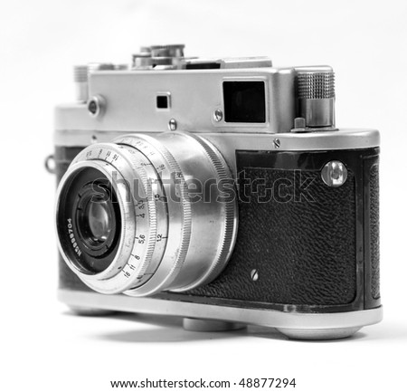 old analog russian photo camera. Front view. - stock photo