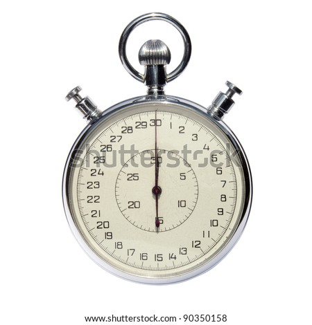Old analog stop watch isolated on white with clipping path