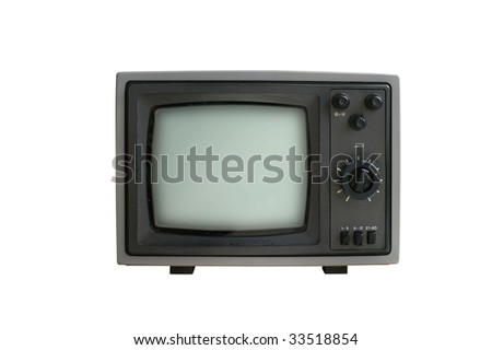 old analog TV set isolated - stock photo