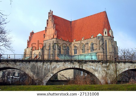 Old ancient basilica in Strzegom, Poland