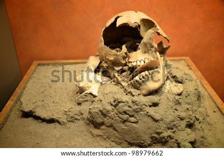 Old ancient broken skull in Mexico - stock photo