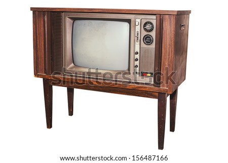 Old and antique analog television on isolate - stock photo