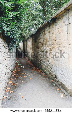 Old and dark alley with stone walls covered with plants in a village in the Cotswolds - stock photo