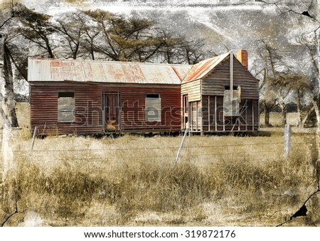 Old and dilapidated Australian country homestead with retro grunge texture applied - stock photo