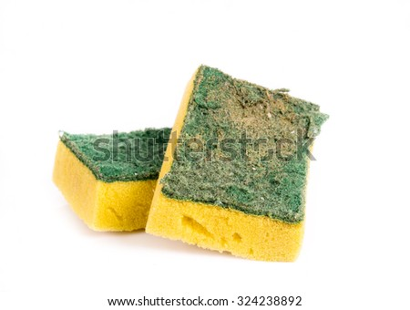 Old and Dirty Dish washing sponge on White Backgrounnd - stock photo