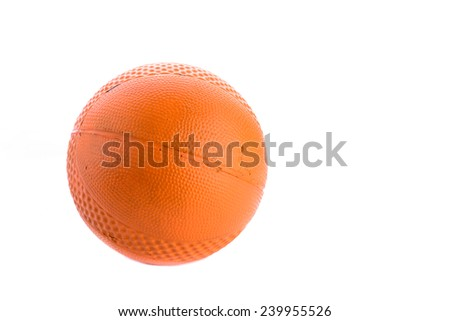 Old and dirty Orange Rubber Ball Isolated on White Background. - stock photo