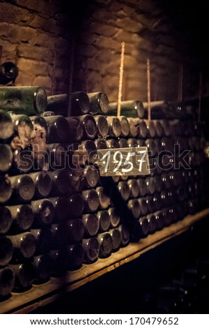 Old and Dusty Wine Bottles - stock photo