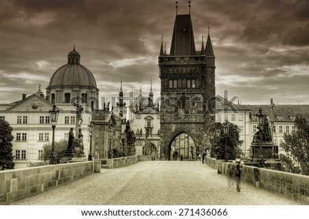 Old and historic Charles Bridge in Prague - stock photo