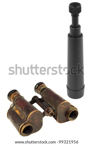 Old and modern binoculars telescope on a white background