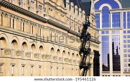 Old and New - architecture of Milwaukee - stock photo