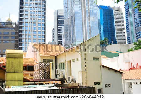 Old and new architecture of Singapore downtown in the day - stock photo