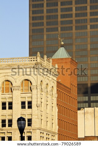 Old and new buildings in downtown Louisville, Kentucky - stock photo