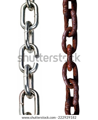 old and new chains - stock photo