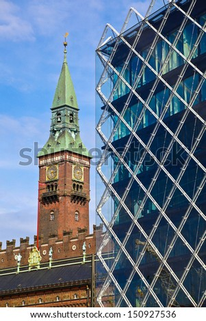 Old and New Copenhagen, Denmark - stock photo
