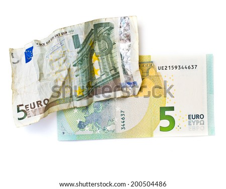 Old and new five euros banknotes