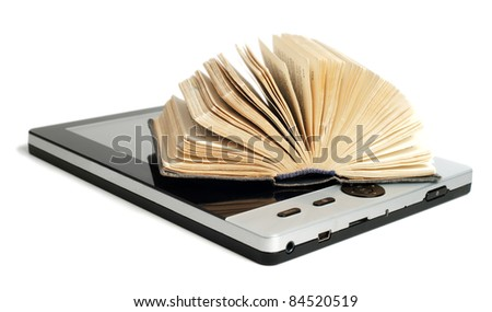 Old and new technology. Old book with new e-reader isolated on white background. - stock photo