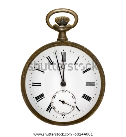 Old and rusty pocket clock midnight hour. Isolated on white background - stock photo