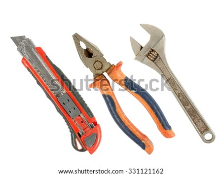 old and rusty tools on white - stock photo