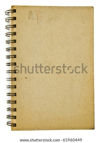 Old and scratched brown cover of spiral notebook isolated on white background