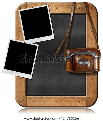 Old and vintage camera with leather case, two empty instant photo frames and a blank blackboard with wooden frame. Isolated on white - stock photo