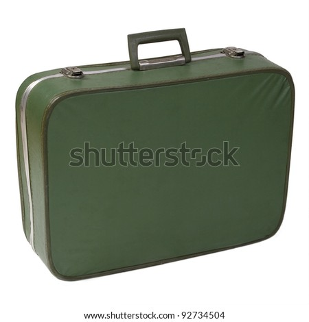 Old and worn green vintage suitcase isolated on white - stock photo