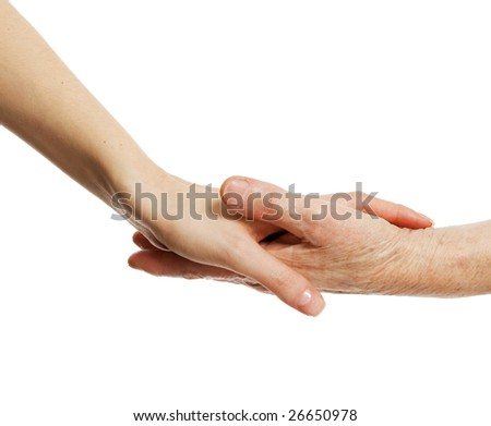 old and young hands; skin care