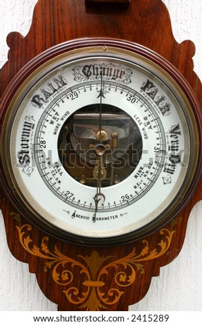 Old Aneroid Barometer. - stock photo