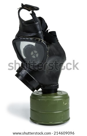 Old Anti-Gas Mask Isolated on White