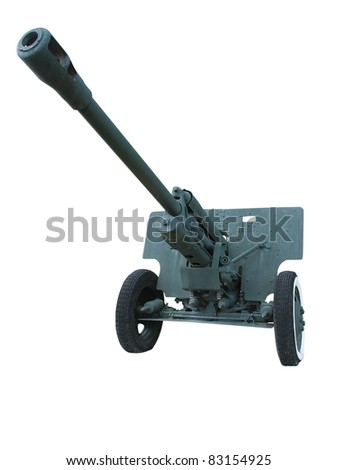 Old anti-tank cannon gun isolated over white background - stock photo