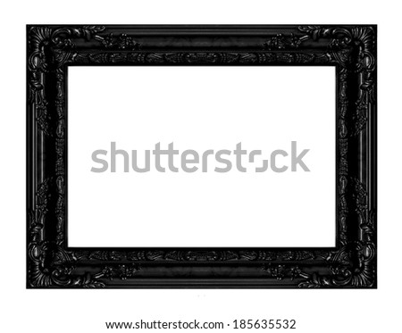 Old Antique Black frame Isolated Decorative Carved Wood Stand Antique Black Frame Isolated On White Background , Vintage background, antique, victorian black frame - stock photo