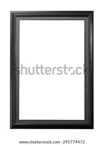 Old Antique Black frame Isolated Decorative Carved Wood Stand Antique Black Frame Isolated On White Background - stock photo