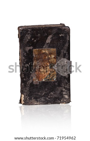 Old antique book isolated on white background with clipping path. - stock photo