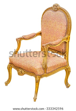 Old antique classic style vintage gilded wooden chair, isolated on white background. File contains a clipping path.